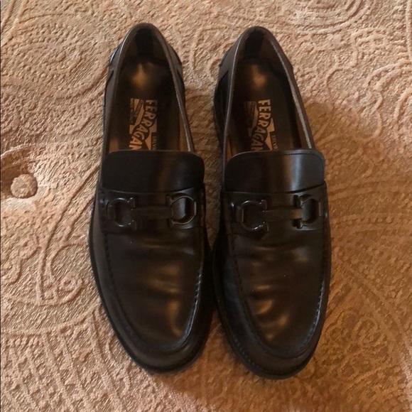 Ferragamo black leather loafers